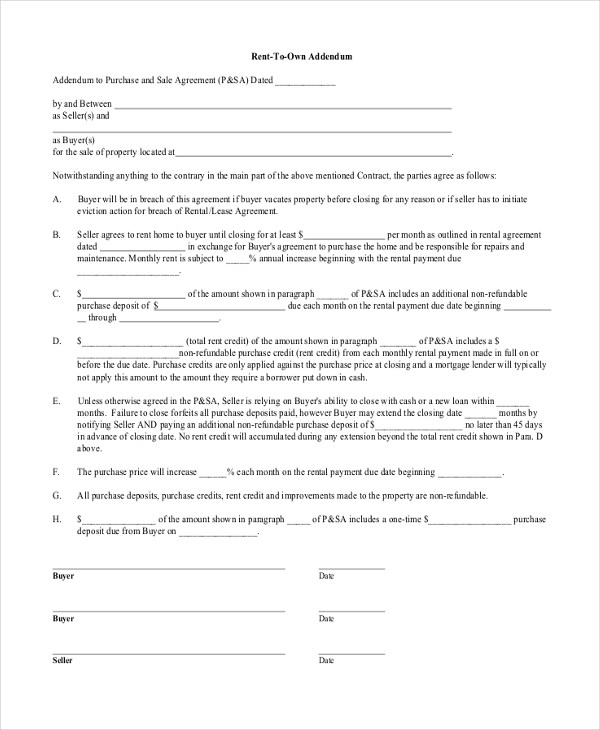 Free Lease Agreement Form Samples - 8+ Free Documents in PDF, Doc - rent to own home contract