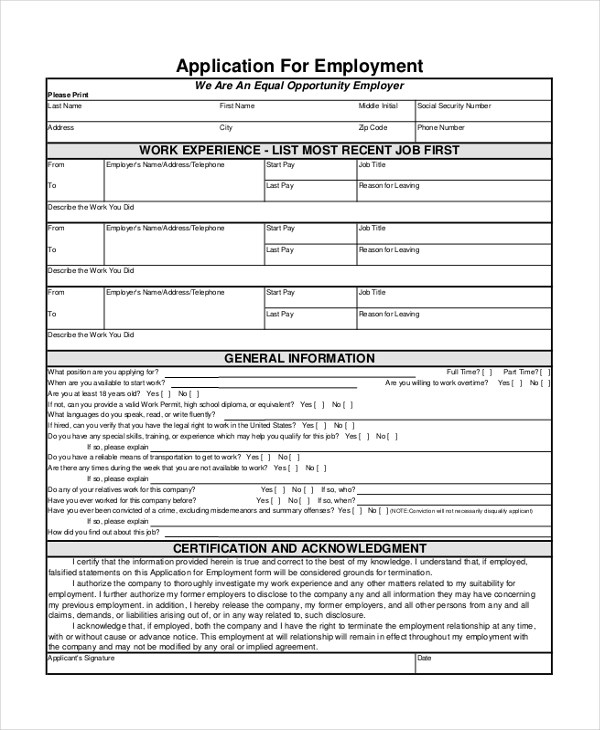 9+ Sample General Application Forms - Sample, Example, Formt - General Job Applications