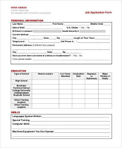 Job Application Form Samples - 13+ Free Documents in Word, PDF - General Job Applications