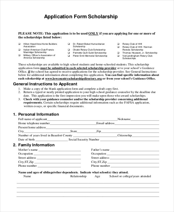 Sample Scholarship Application Form - 9+ Free documents in PDF