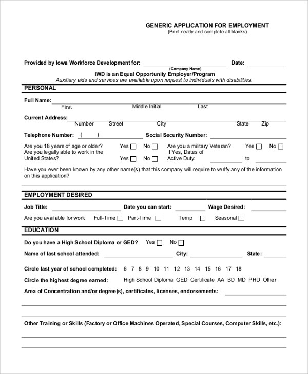 Sample Generic Employment Application Form - 10+ Free Documents in PDF - sample employment application