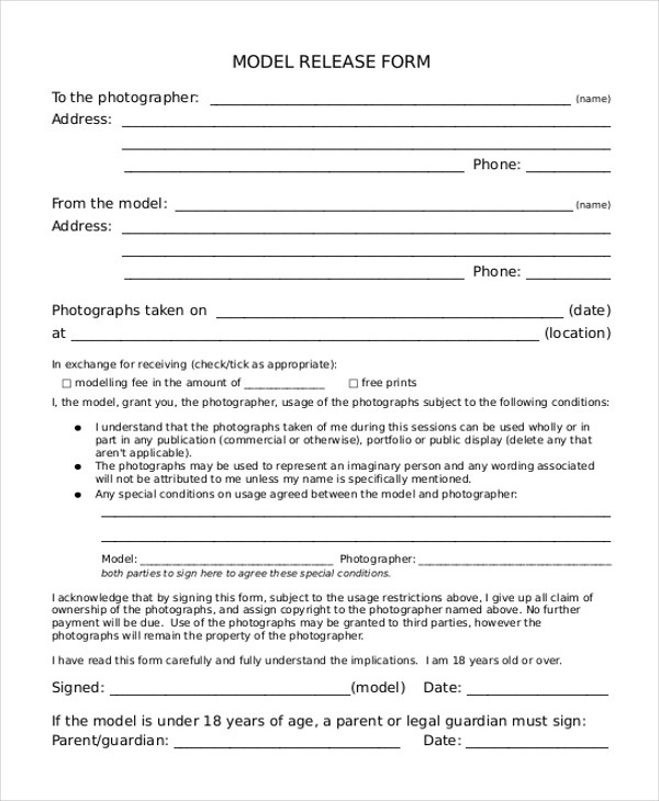 Sample Model Release form - 10+ Free Documents in PDF - generic photo release form
