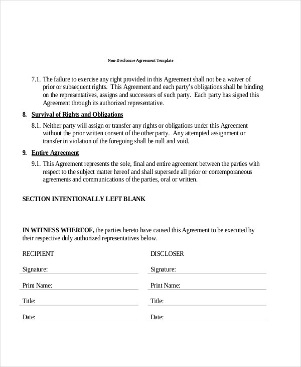 Sample Non-Disclosure Agreement Forms in PDF - 8+ Free Documents in PDF