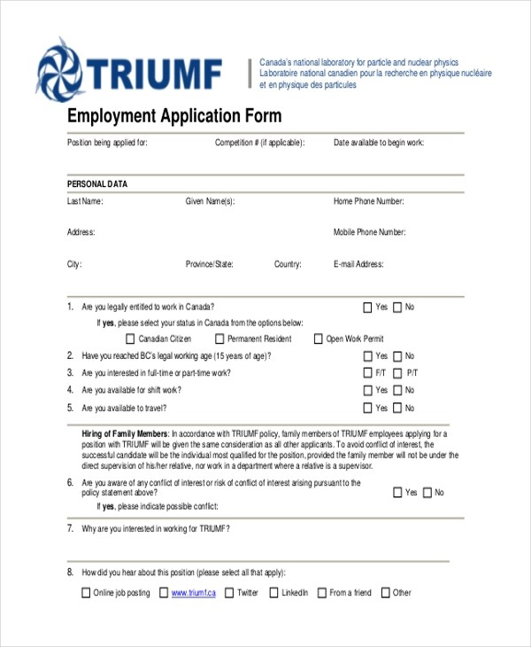 Sample Generic Employment Application Form - 10+ Free Documents in PDF - Printable Employment Application