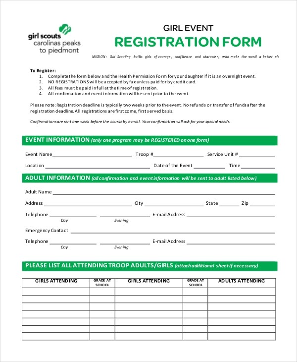 Sample Event Registration Form - 11+ Free Documents in Doc, PDF - customer registration form sample