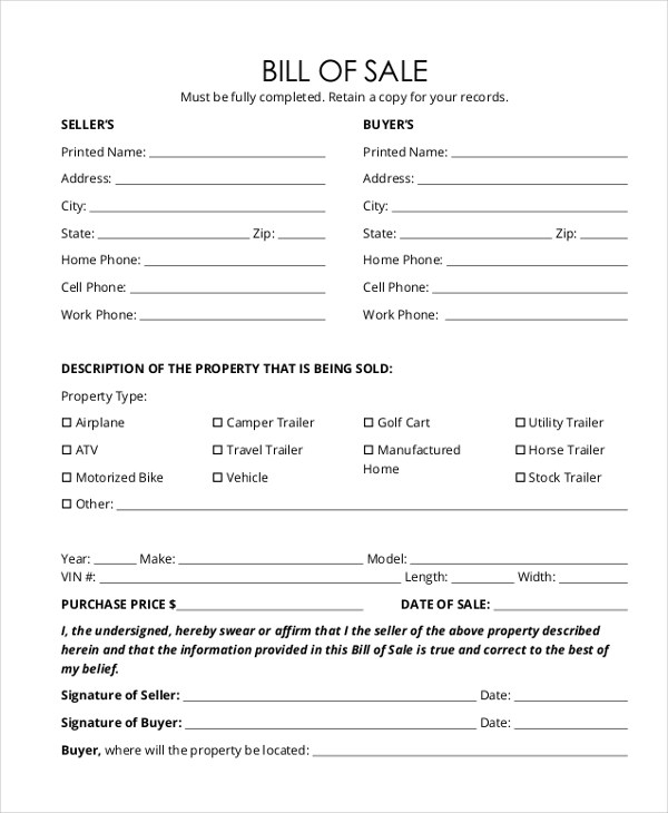 Trailer Bill of Sale Form - 9+ Free Documents in Word, PDF - bill of sale samples