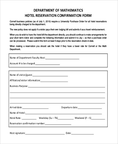 hotel reservation form template - Ozilalmanoof