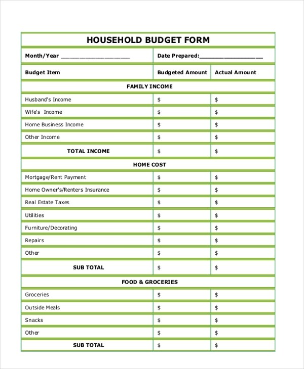 budget sample form - Onwebioinnovate