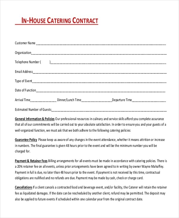 Sample Catering Contract Form - 8+ Free Documents In Doc, PdfEvent - videography contract template