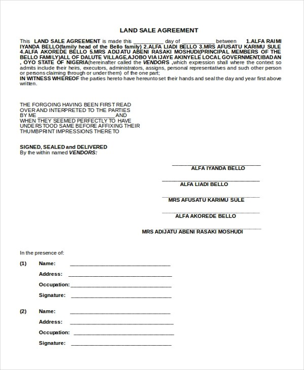 Sample Sales Agreement Form - 10+ Free documents in Doc, PDF - Sample Sales Agreement
