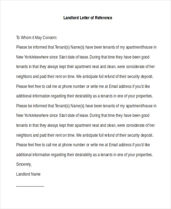 Landlord Recommendation Letter Sample Rent Reference LetterTenant - landlord reference letter