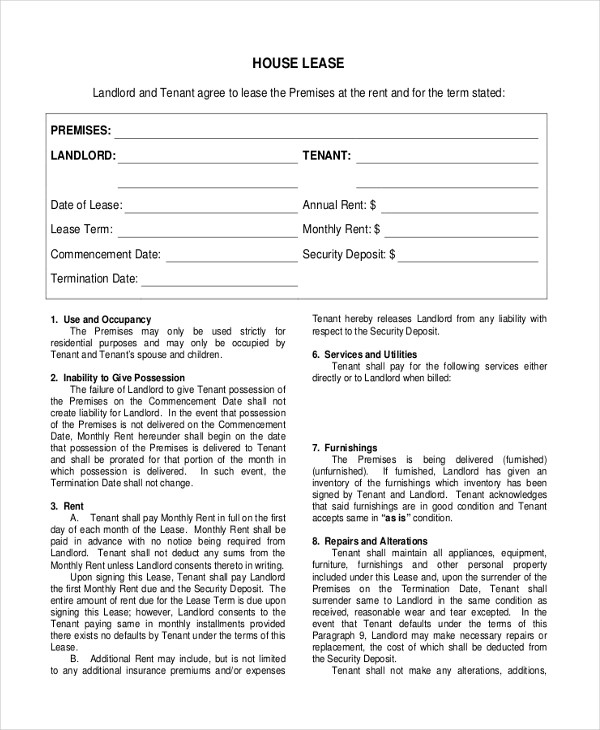 Sample House Lease Agreement Form - 8+ Free Documents in PDF