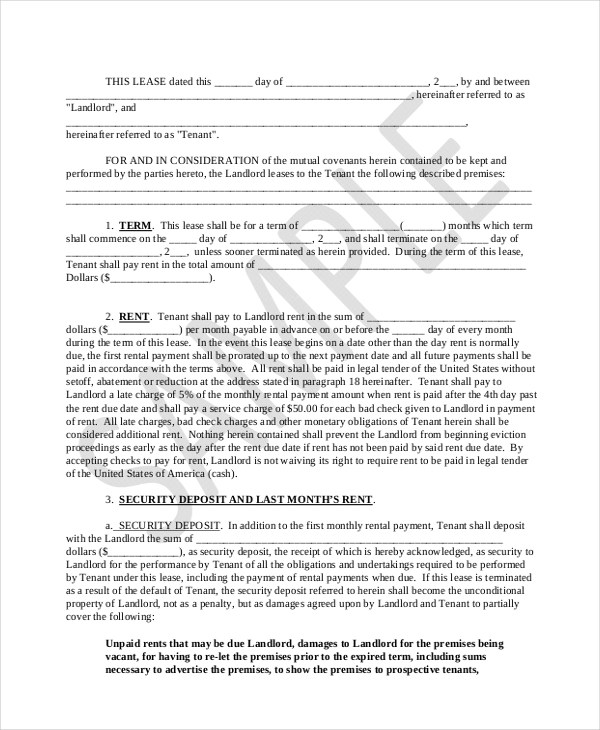 Sample Lease Purchase Agreement Form - 6+ Free Documents in PDF, Doc