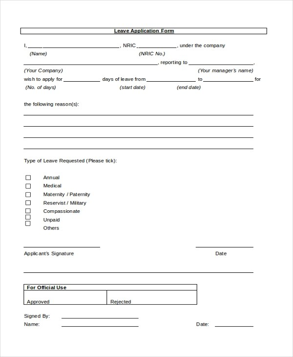 Sample Leave Application Form - 10+ Free Documents in PDF, Doc - application form in doc