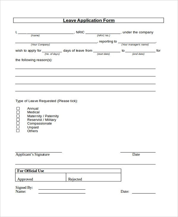 ... Sample Medical Application Form Medical Leave Application Form 8+   Application  Sample For Leave ...