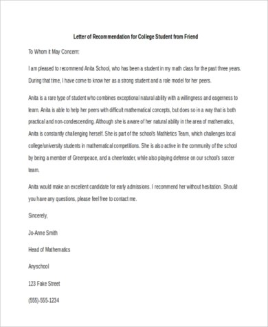 6+ Sample Recommendation Letter for a Friend - 8+ Free Documents in - college recommendation letter