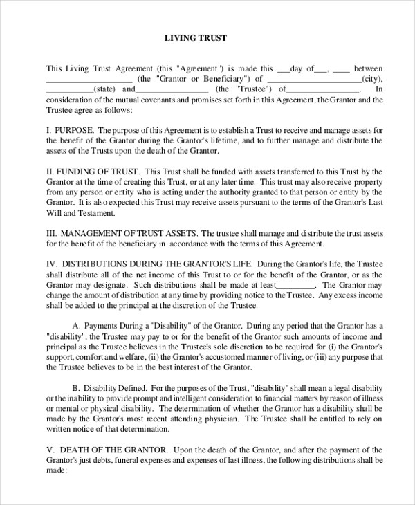 Sample Free Living Will Form - 8+ Free Documents in Doc, PDF - living trust form