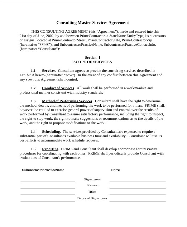 Sample Consulting Agreement Form - 9+ Free Documents In Doc - business service agreement