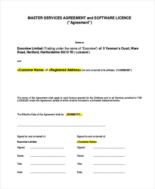 Sample Service Agreement Form - 9+ Free Documents in PDF - Sample Master Service Agreement
