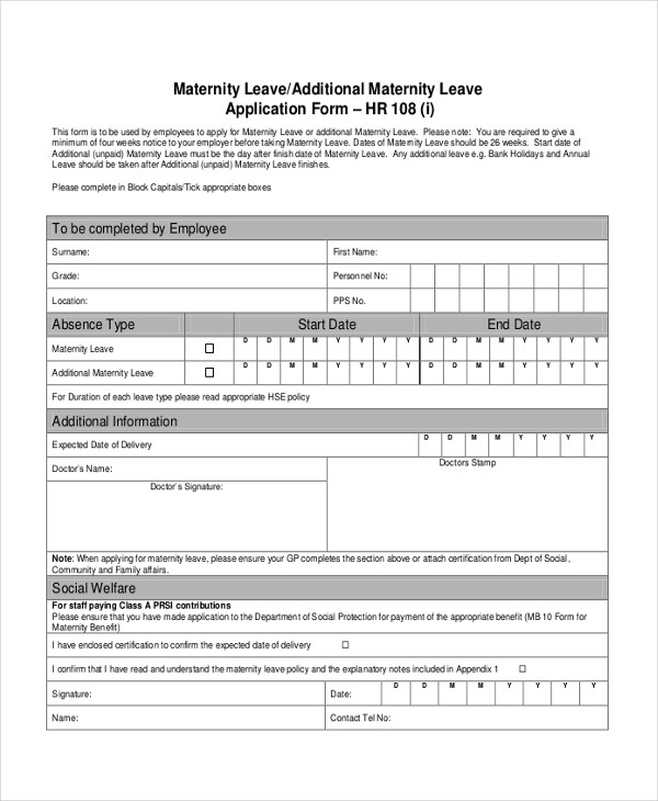 7+ Sample Leave Application Forms - Sample, Example, Format - format of leave application form