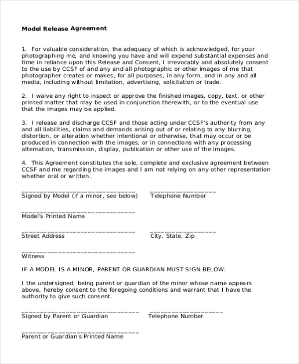 Sample Model Release form - 10+ Free Documents in PDF - release agreement