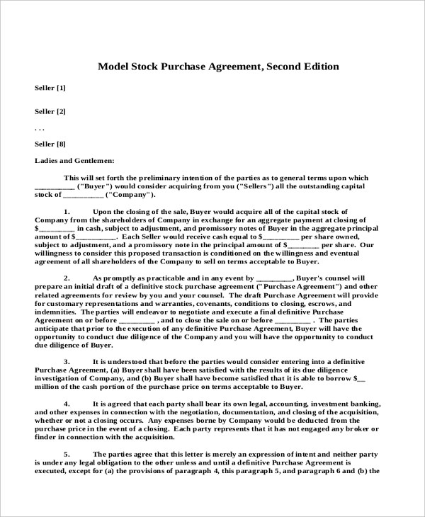 Sample Stock Purchase Agreement Form - 7+ Free Documents in PDF - stock purchase agreement