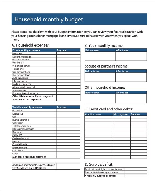 Sample Budget Form - 10+ Free Documents in PDF - sample budget form