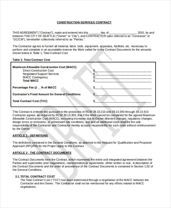 Sample Construction Contract Form - 10+ Free Documents in PDF - construction contract forms