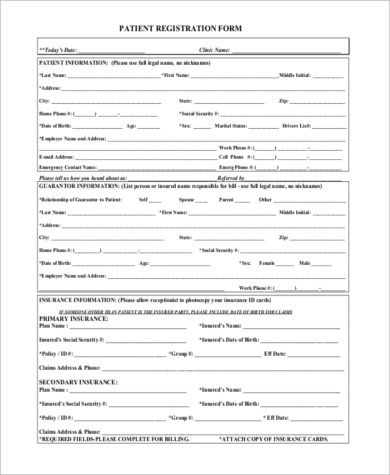 Patient Registration Form Samples - 7+ Free Documents in PDF