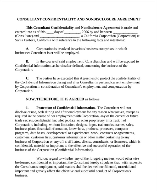 Sample Consulting Agreement Form - 9+ Free Documents In Doc - consulting retainer agreement