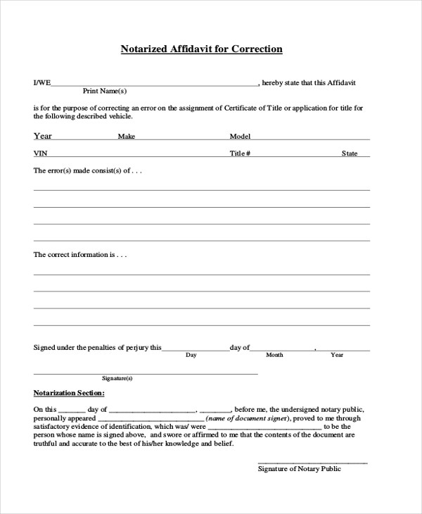 8+ Sample General Affidavit Forms - Sample, Example, Format