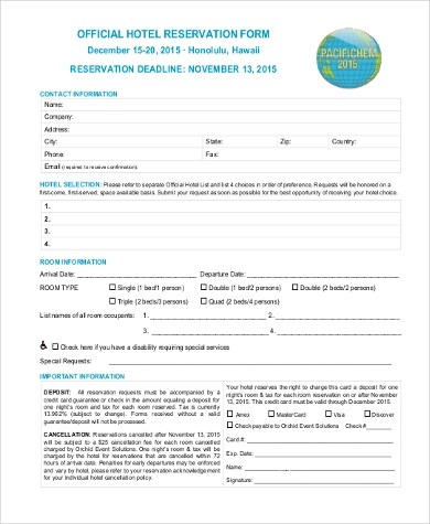Sample Hotel Reservation Form - 10+ Free Documents in Word, PDF - free reservation forms