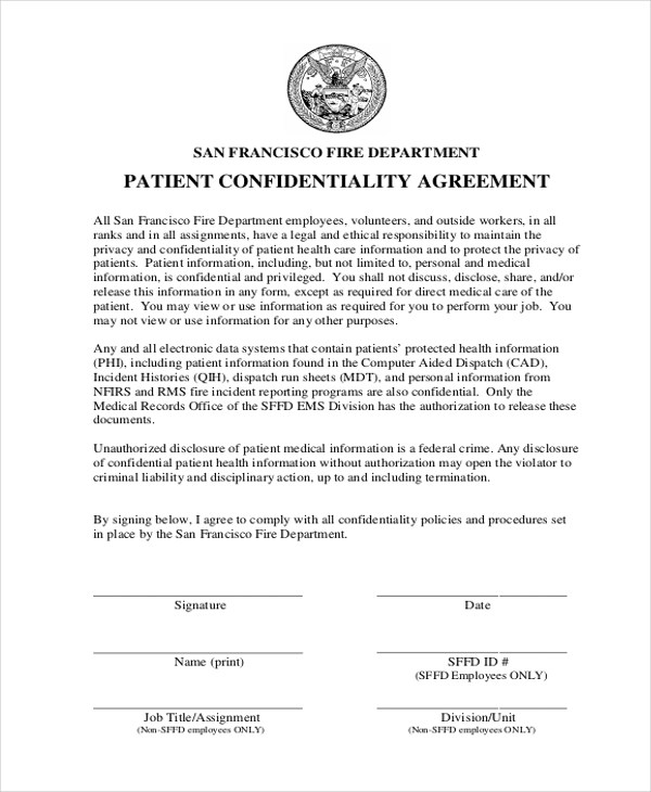patient confidentiality agreement efficiencyexperts - data confidentiality agreement