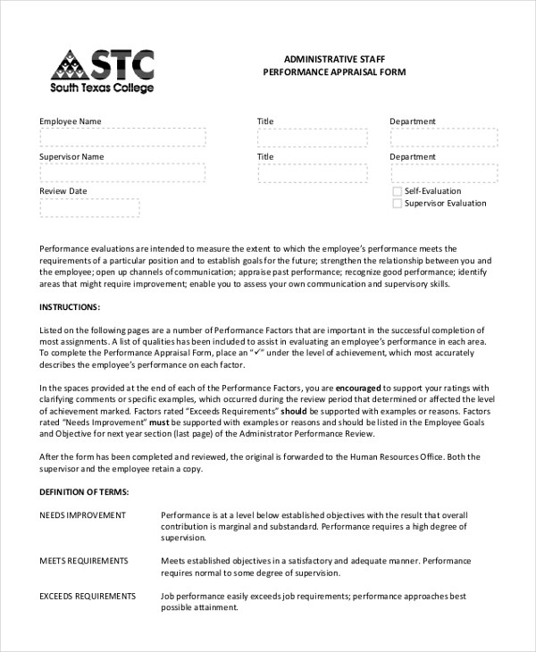9+ Sample Performance Appraisal Forms - Free Sample, Example, Format