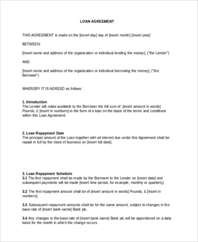 Sample Personal Loan Agreement - 8+ Free Documents in PDF, Doc - money loan contract template