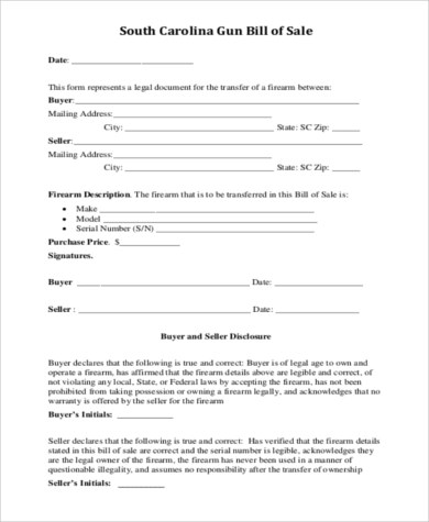 Sample Firearms Bill of Sale Form - 7+ Free Documents in PDF - gun bill of sale