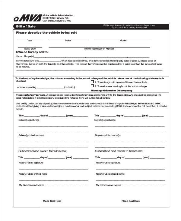 Sample Bill of Sale Auto Form - 8+ Free Documents in PDF - automobile bill of sale sample