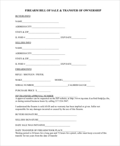 Sample Firearms Bill of Sale Form - 7+ Free Documents in PDF