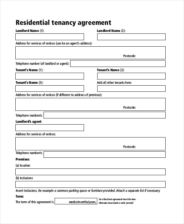 Sample Rent Agreement Form - 7+ Free Documents in PDF, Doc - parking agreement template