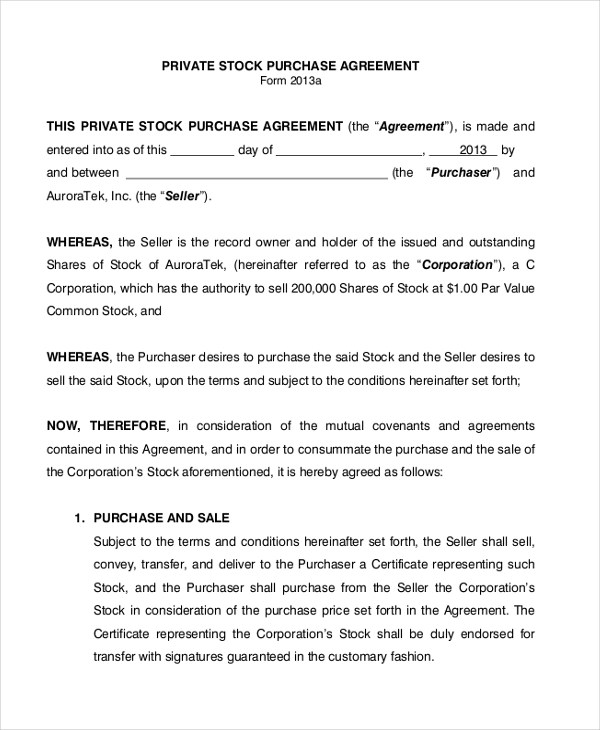 Sample Stock Purchase Agreement Form - 7+ Free Documents in PDF