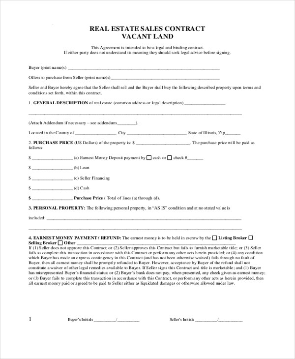 Sample Real Estate Sales Contract Form - 8+ Free Documents in PDF, Doc - sales contract