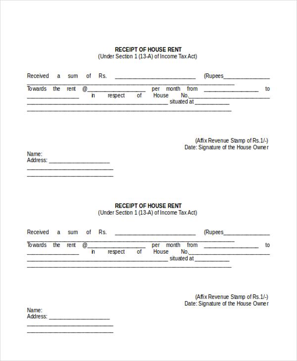 Sample Rental Receipt Form - 8+ Free Documents in PDF, Doc - house rent receipt format