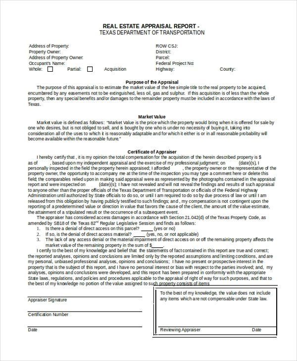 7+ Sample Real Estate Appraisal Forms - Free Sample, Example,Format