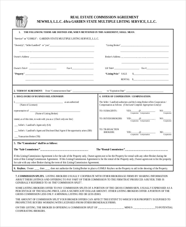 Sample Real Estate Agreement Form - 8+ Free Documents in PDF - commission contract template