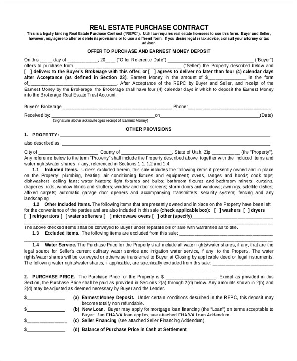 Sample Real Estate Purchase Agreement Form - 6+ Free Documents in