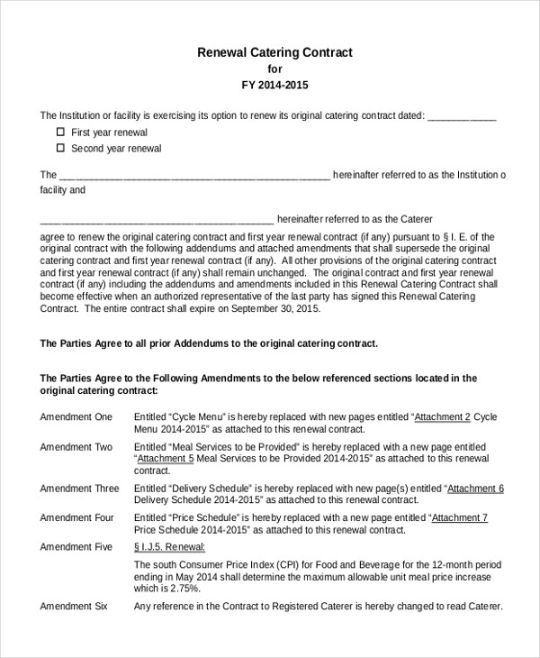 Doc#585685 Catering Contract u2013 7 Catering Contract Templates - catering contract template