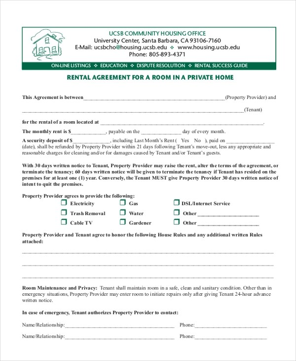 Sample Room Rental Form - 9+ Free Documents in PDF - Room Rental Agreement Form
