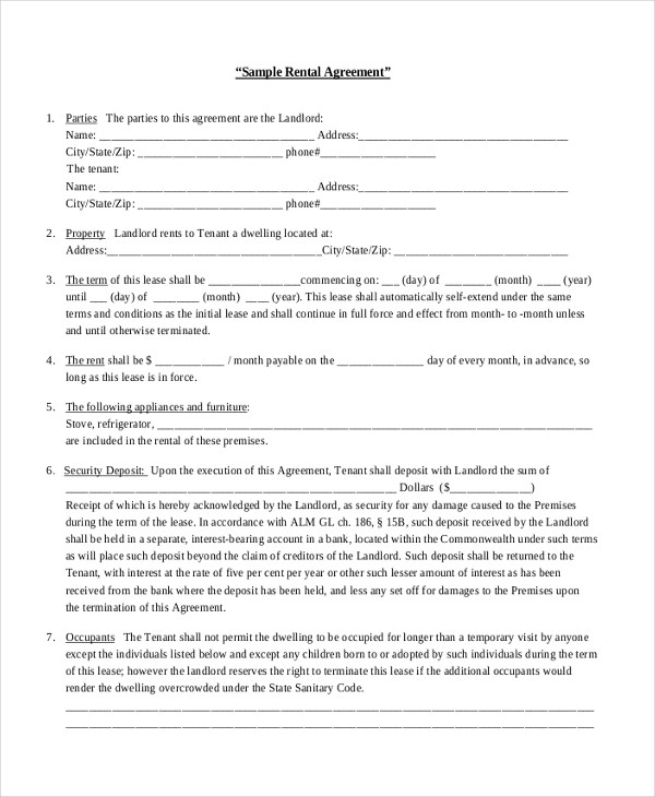 Sample Renters Agreement Form - 8+ Free Documents In PdfRental - lease termination form