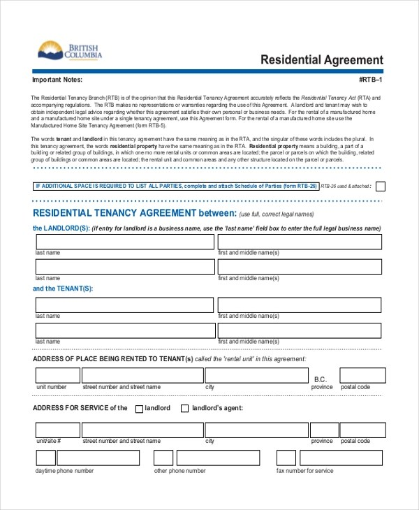 Sample Residential Lease Agreement Modern Bio ResumesSample - lease agreement form