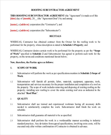Subcontractor Contract Template subcontractor prequalification - roofing contract template